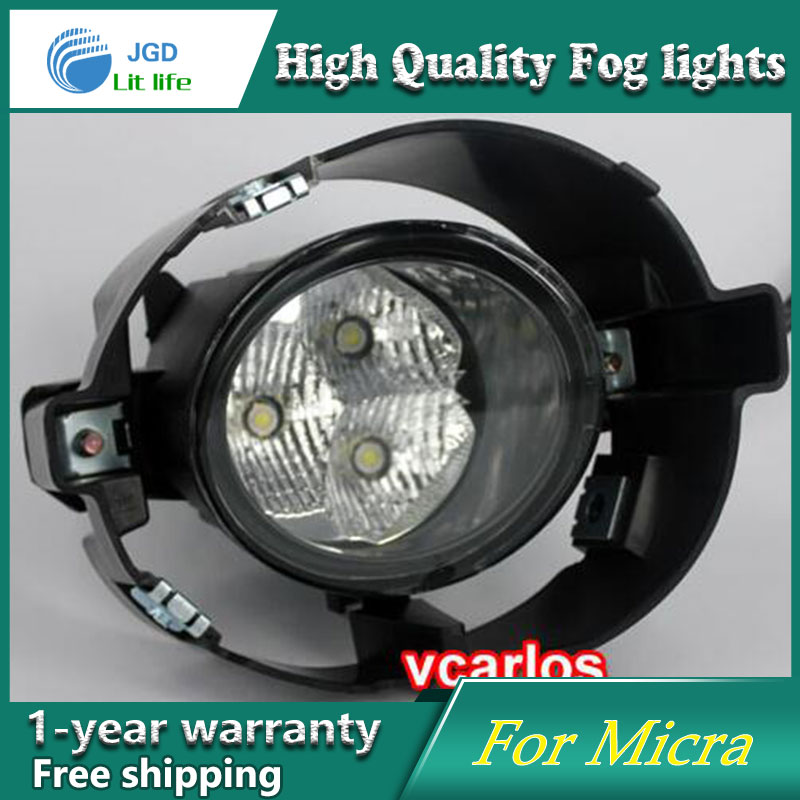 2PCS / Pair LED Fog Light For Nissan Micra March 2010 High Power LED Fog Lamp Auto DRL Lighting Led Headlamp akd car styling fog lamp for nissan rouge drl led fog light led headlight 90mm high power super bright lighting accessories