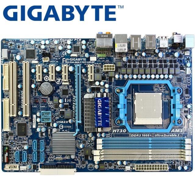 GIGABYTE GA-MA770T-UD3P Desktop Placa Mãe Socket 770 AM3 Para Sempron Phenom II Athlon II 100 DDR3 16g ATX Usado Mainboard