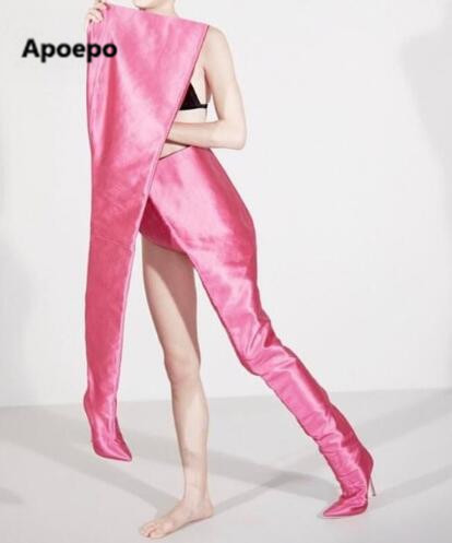 Apoepo brand Designer Women High Waist Boots Pointed Toe Gladiator Crotch Extreme Long Boots Celebrity Rihanna Chaussure Femme