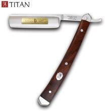 Miễn phí vận chuyển Titan thẳng dao cạo tay cầm bằng gỗ tay thép không gỉ balde