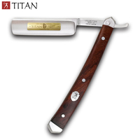 free shipping Titan straight razor wooden handle hand made stainless steel balde