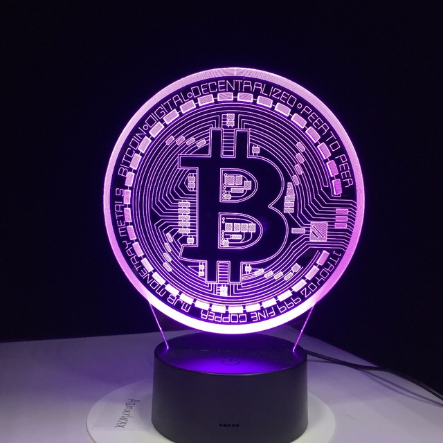 3D Led Lamp Bitcoin Sign Modelling Night Lights 7 Colorful Usb Coin Desk Lamp Baby Bedroom Sleep Lighting Fixture Decor Gifts 4