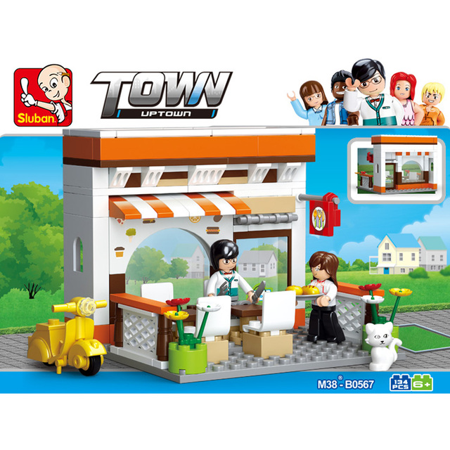 Sluban 134pcs Restaurant Town Series Building Blocks Assemblage Construction Toys for Kids Early Educational Learning Juguetes