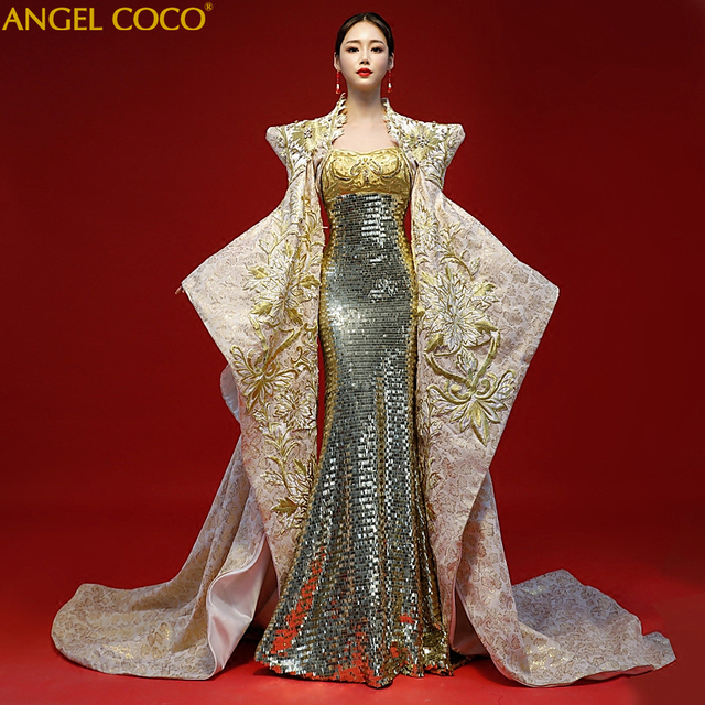 Royal Gold Sequins Mermaid Dress 2019 New Sexy Robe De Soiree Longue 2018 Abendkleider 2 Piece Set Dubai Luxury Evening Dresses