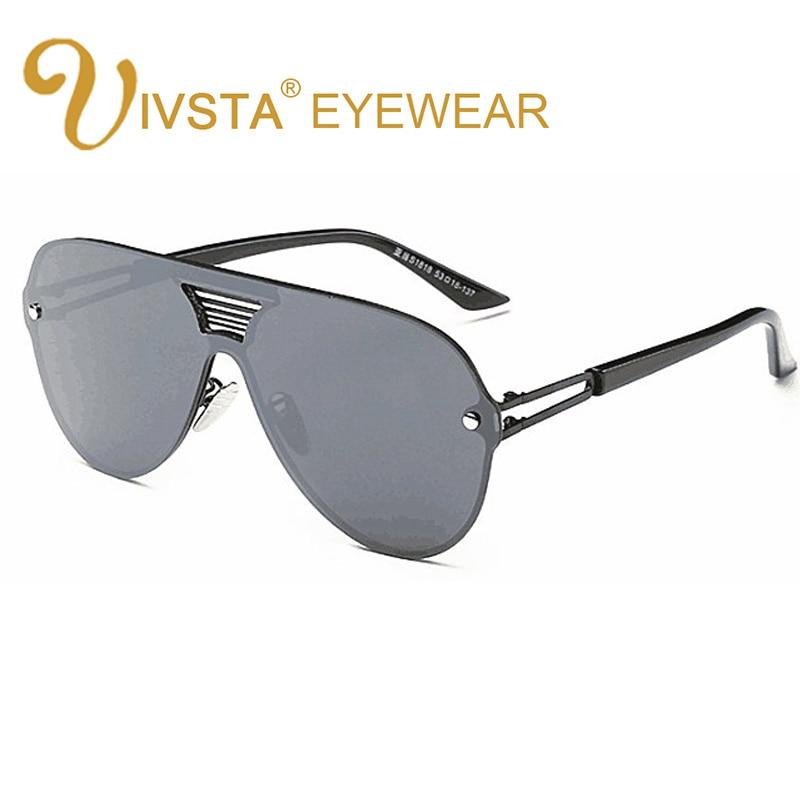 IVSTA Steampunk Gafas de sol Hombres Gafas de sol de gran tamaño Mujeres Gafas de montura grande Gafas de sol de espejo plano Hipster Lente plana Gafas de sol Hombre 8051