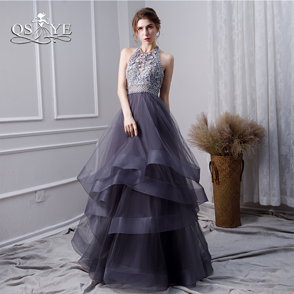 QSYYE 2019 New Gray Long   Prom     Dresses   Robe de Soiree Halter Oneck Beading Flowers Tulle Sexy Open Back Evening   Dress   Party Gown