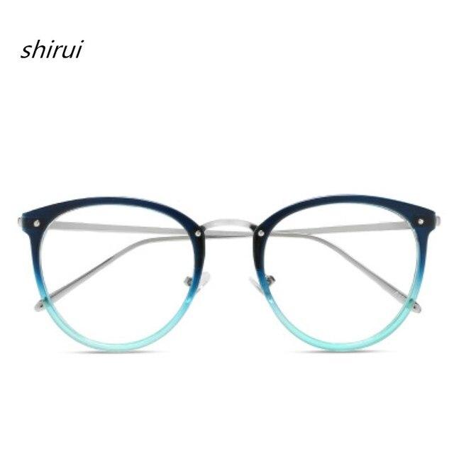 2018 נשים גברים רטרו קוצר ראייה משקפיים נשי מסגרת משקפיים אופטיים בציר משקפיים מתכת מסגרת שחור כחול 9 צבע