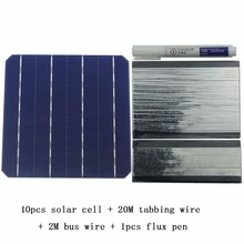 10Pcs 5W 156MM Monocrystalline High Efficiency Solar Cells 6×6 With 20M Tabbing Wire 2M Busbar Wire and 1Pcs Flux Pen