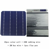10Pcs 5W 156MM Monocrystalline High Efficiency Solar Cells 6x6 With 20M Tabbing Wire 2M Busbar Wire and 1Pcs Flux Pen