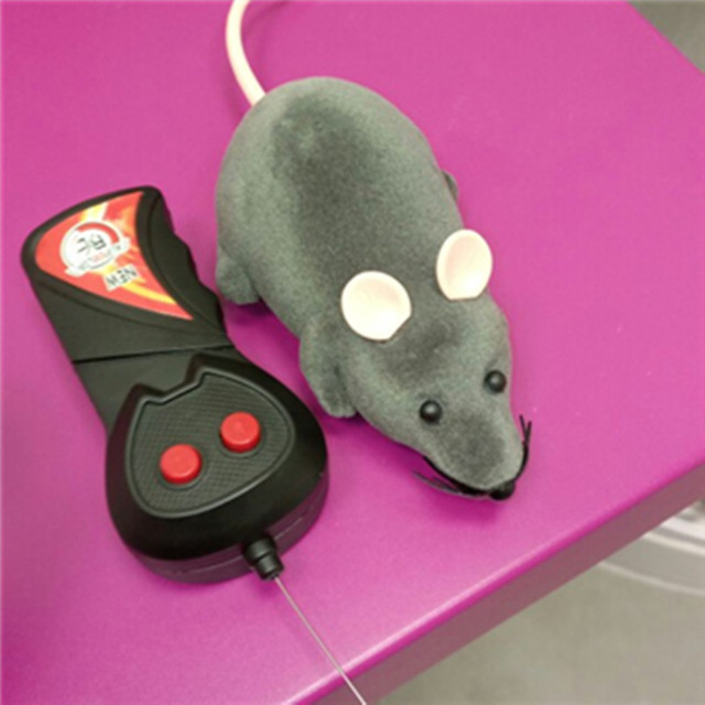 2017 Black Funny Pet Cat mice Toy Wireless RC Gray Rat Mice Toy  Remote Control mouse For kids toys freeshipping