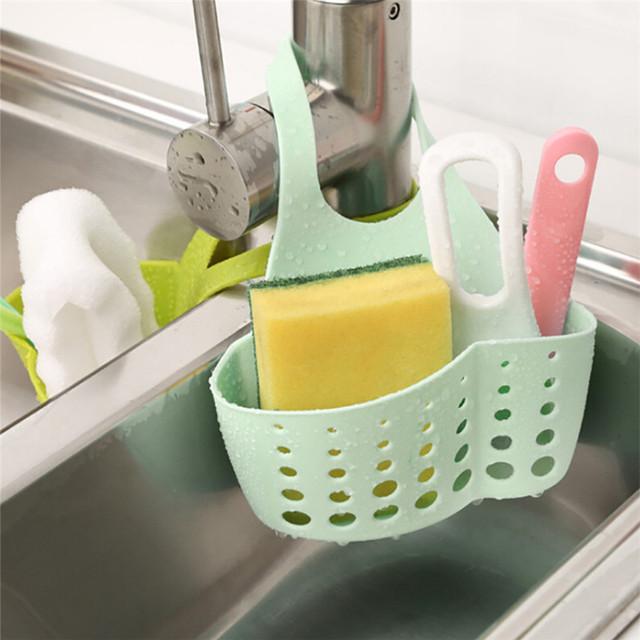 Sink Shelf Soap Sponge Drain Rack Bathroom Holder Kitchen Storage Suction Cup Kitchen Organizer Sink kitchen Accessories June#1