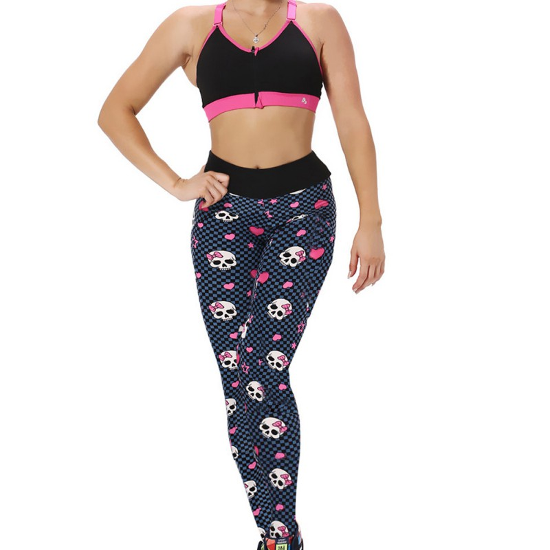 Top Womens Trouser Compression Pants SKULL Printed Female Fitness Sportswear Slim Elastic Pants For Lady