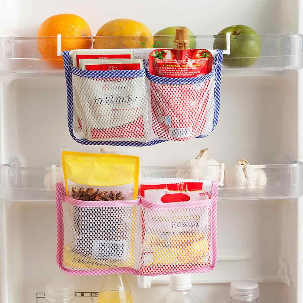 Practical Refrigerator Hanging Mesh Bag Home Kitchen Storage Organizer Pouch Fresh Spacer Layer Racks Cabinet Stand Drawer Sort