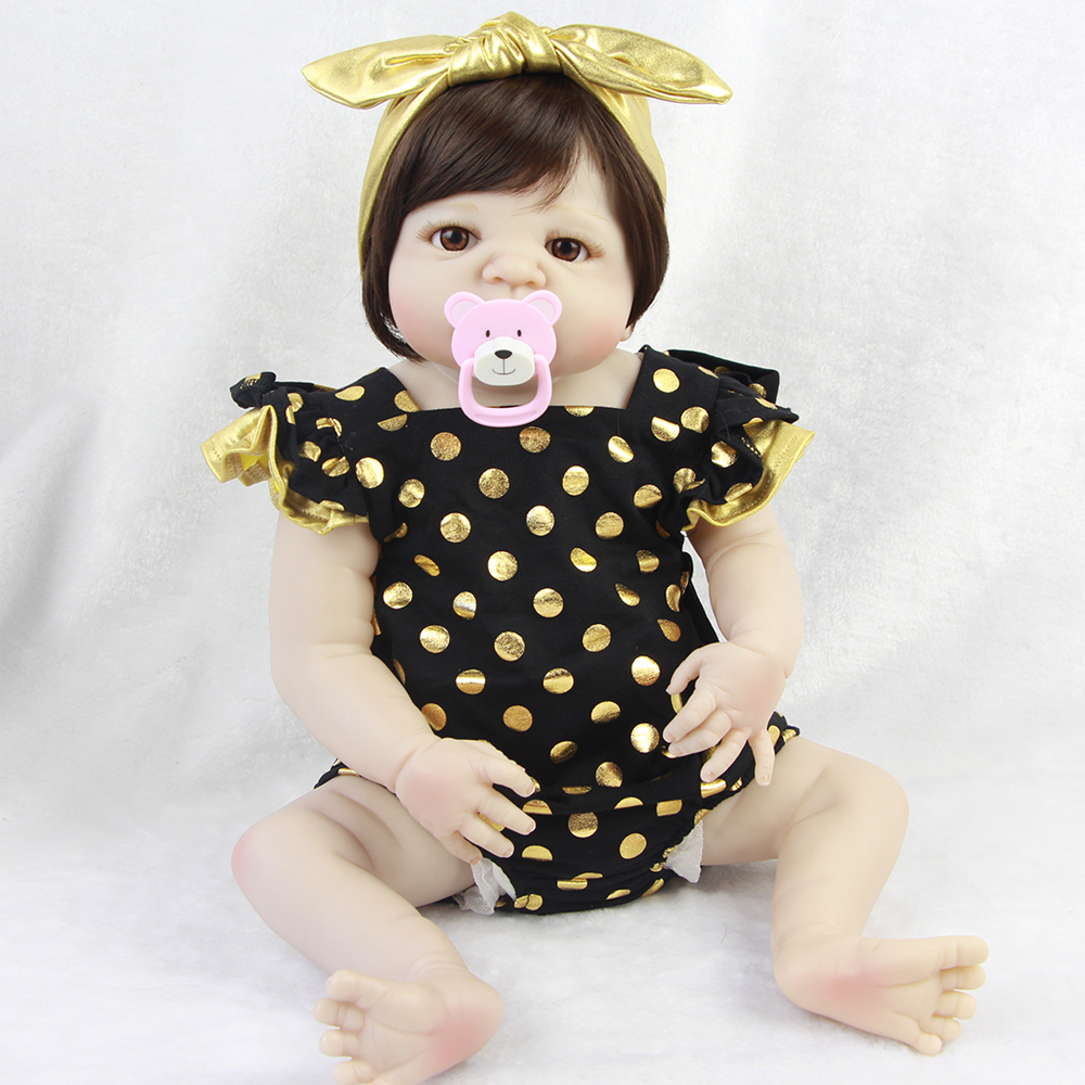 все цены на 23 Inch Reborn Baby Dolls For Sale Realistic Full Silicone Vinyl Babies Dolls Toy For Girl XMAS Gifts Lifelike Newborn Dolls