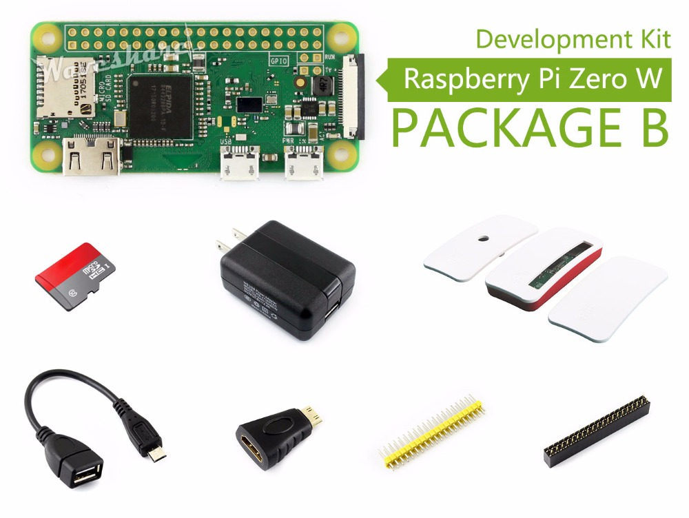 Parts Raspberry Pi Zero W Package B Basic Development Kit Micro SD Card, Power Adapter, Official Case, and Basic Components raspberry pi zero w basic starter kit raspberry pi zero 16g sd card power adapter acrylic case hdmi cable