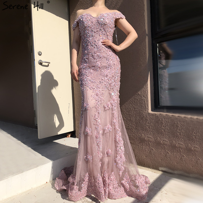 Pink Mermaid Boat Neck Sexy Evening Dresses 2019 Lace Pears Diamond Elegant Fashion Formal Evening Dress Real Photo LA6560