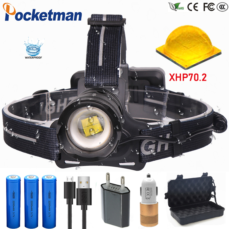 100000 Lumens 6600mA 50W XHP70.2 Led Headlamp Waterproof Zoomable Headlight powerful head flash lamp Head light lantern gift box