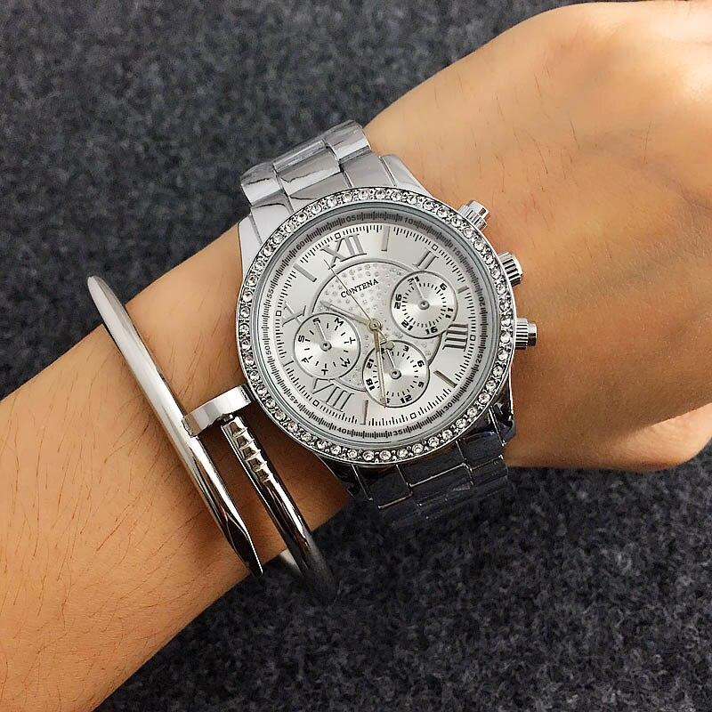 Relogio CONTENA cristal diamant montre de luxe en or Rose femmes montres de mode femmes montres en acier pleine montre-bracelet horloge saat