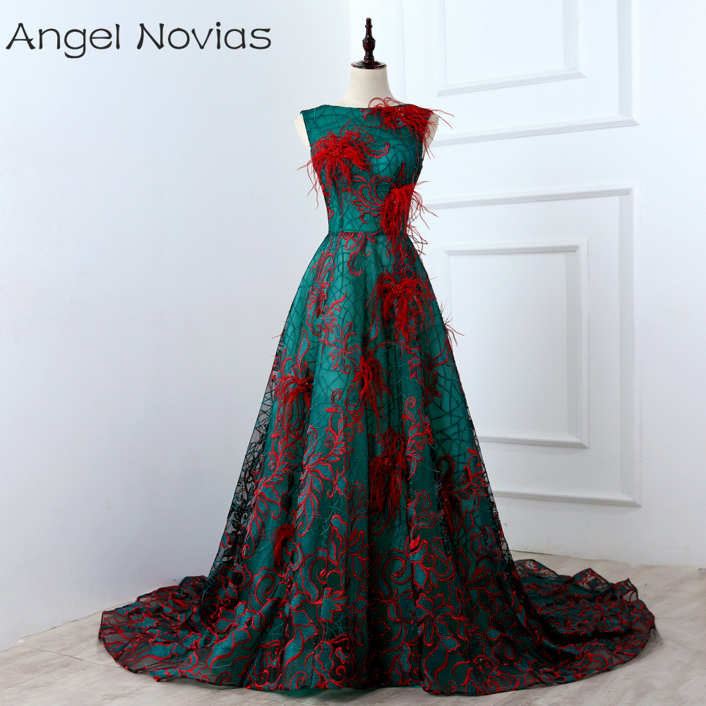 Long Luxury Evening Dress 2018 kaftan Dubai Lace Up Embroidery Formal Evening Gowns Dresses with Feather Vestido Formatura Longo