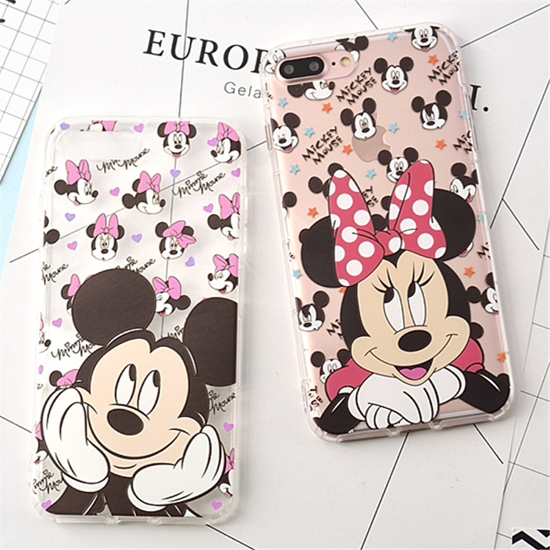 100 pcs Wholesale Cute Mickey Minnie mouse Airbag Case For Coque iPhone X 6 6s 6plus 7 7plus 8 8plus Cases Capinha TPU Silicone