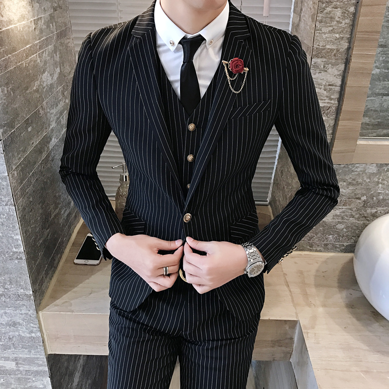 good selling entire collection cheapest price US $95.98 |Black Stripe Men Suit Custom Made Navy Blue Mens Striped  Suit,Tailored Single Breasted Men Slim Wedding Suits With Ticket Pocket-in  Suits ...