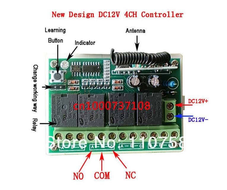 DC12V 4channels rf wireless toggle switch 12v power window switch ...