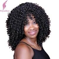 Yiyaobess 40 cm 1 # Için Afro-amerikan Saç Orta Kıvırcık Peruk Kadınlar Isıya Dayanıklı Sentetik Afro Siyah Peruk