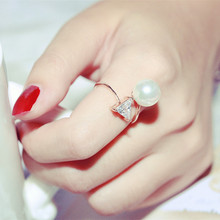 New arrival gold plated triangle zircon big pearl rings for women bijoux fine jewelry female gifts