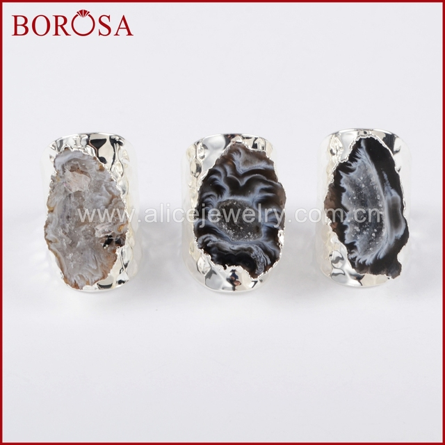 BOROSA Elegant Druzy Silver Color Freeform Natural Crystal Druzy Open Band Rings, Fashion Natural Gems Women Party Rings S1388