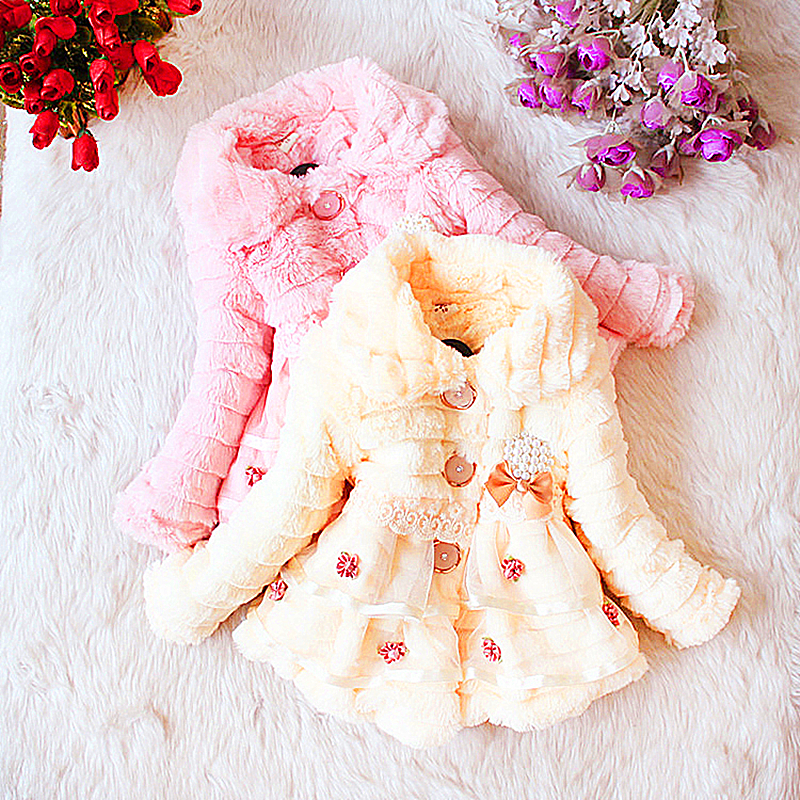 Ingyenes szállítás márka Gyermek ruházat lányok tél 2018 női gyermek o-nyak felsőruházat gyermek kabát kis lány csipke ruhák