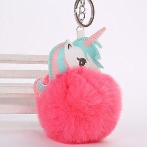 Image 2 - Nette Plüsch Einhorn Spielzeug Für Kinder Geschenk Gefüllte Puppe Spielzeug Fell Ball Pompon Mini Plüsch Anhänger Schlüssel Kette Mädchen Tasche hängen Dekor