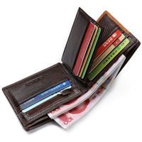 New Genuine Leather Men S Wallets 3 Short Design Patchwork Cowhide Wallet Retro Brown Coin Purse