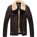 Plus size 2016 nuevos hombres de la marca genuina chaqueta de piel de oveja de moda del diseño corto cuello de piel de cordero prendas de vestir exteriores / M-5XL