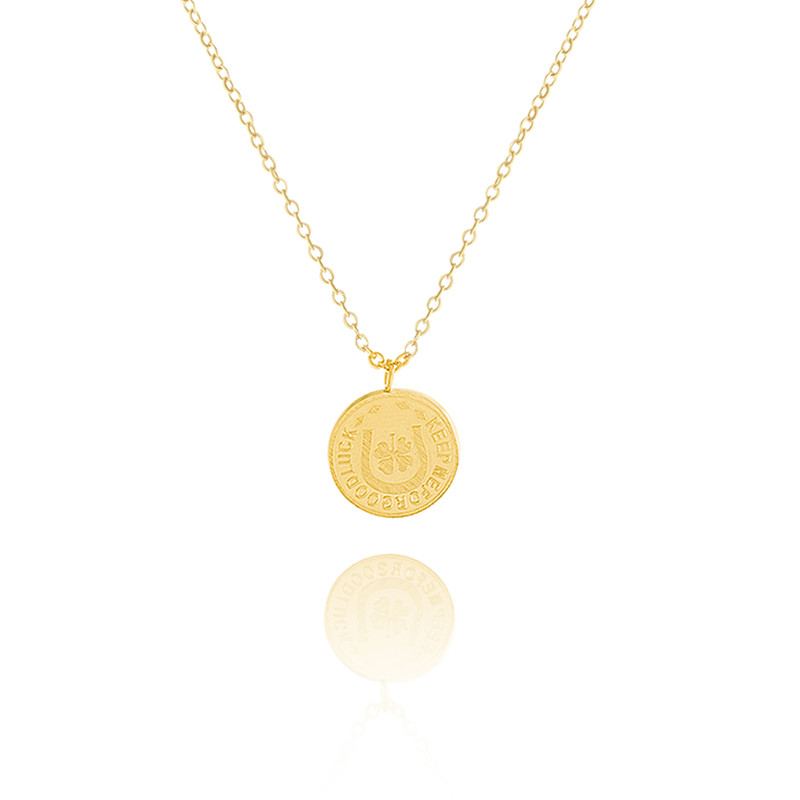 Richy-Glory Trendy Necklaces Clover Coin On Chains Necklaces Silver
