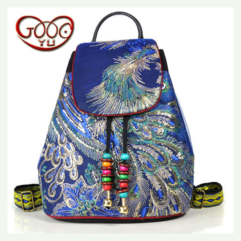 The new original feng shui bucket embroidery package embroidery Phoenix canvas belt buckle backpack zippers double buckle canvas backpack