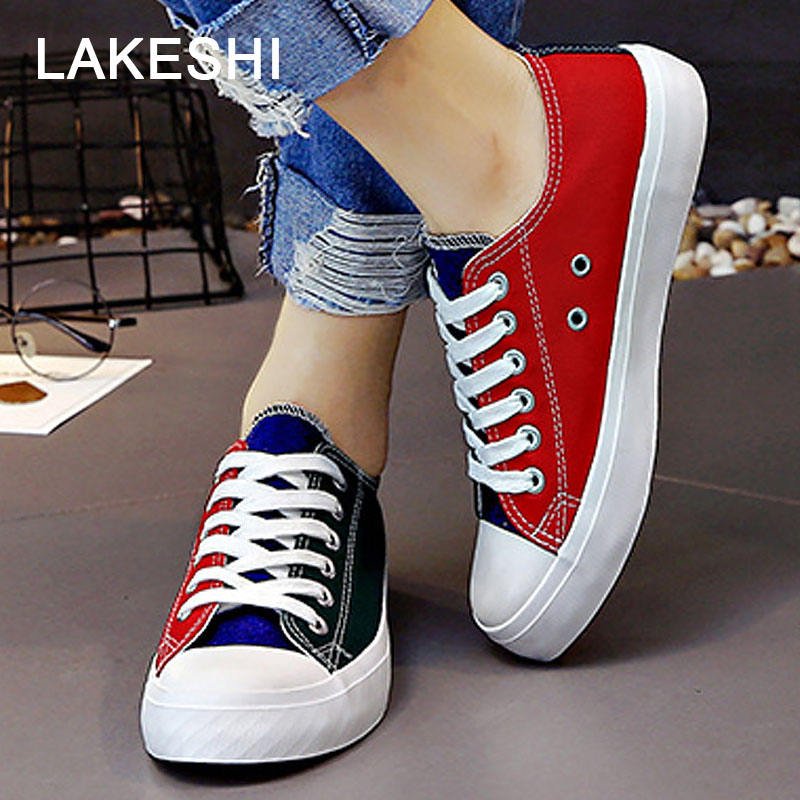 LAKESHI Fashion Mixed Colors Women Shoes Casual Canvas Shoes Female Shoes 2018 New Arrival Shallow Shoes Lace Up Women Sneakers