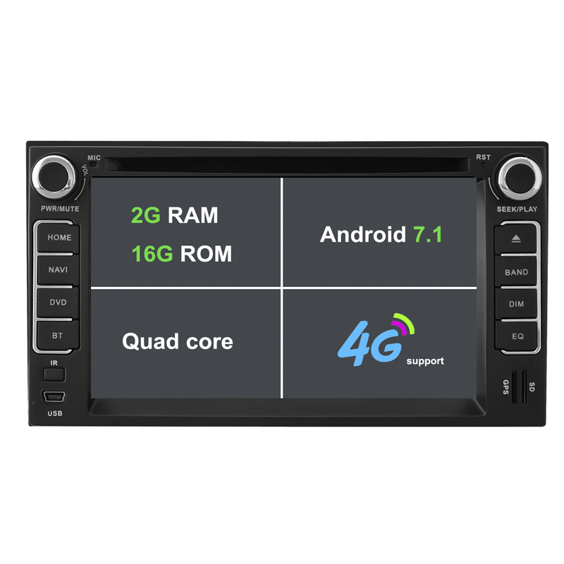 Android 7.1.1 Two Din 6.2 Inch Car DVD Player For KIA/CERATO/SPORTAGE/RIO/Morning 2GB RAM Wifi GPS Navigation Radio FM USD/SD ...