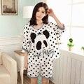 Panda Pijama Mujeres Feminino Pijama de Dormir de Los Animales de Verano Modal Delgada Puntos Blancos de Las Mujeres Pantalones Cortos de Pijama Conjunto de Salón Niñas Ropa de Dormir