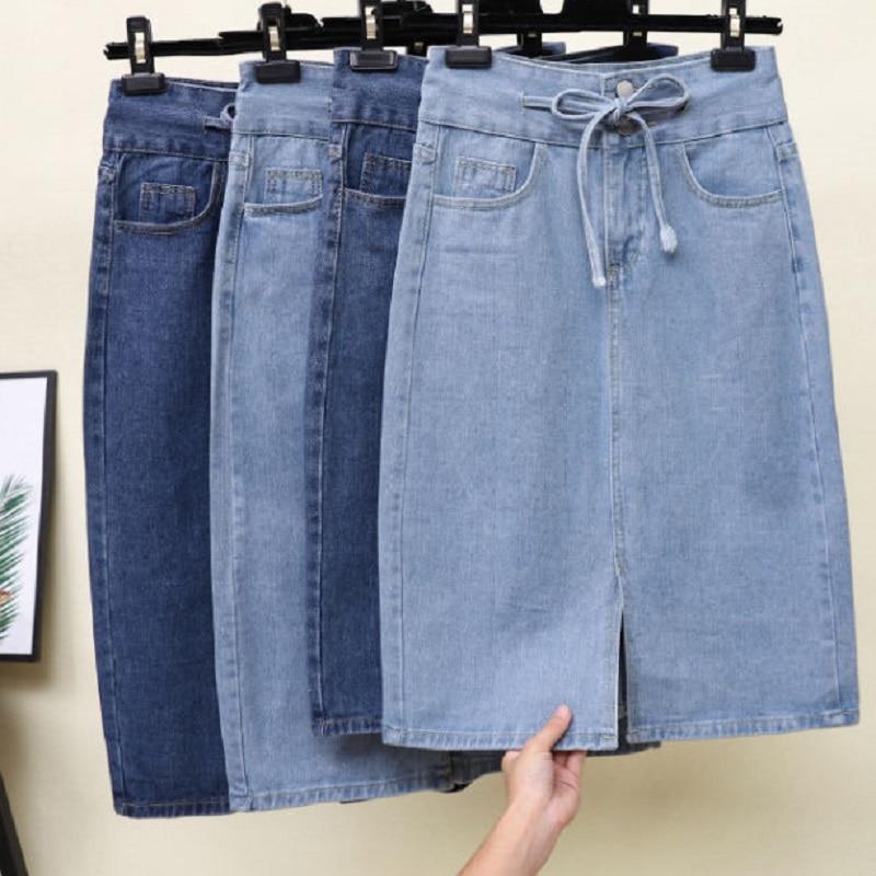Summer Women Clothing  Denim Fabric Washed Skirts Split Skirts Knee Length High Waist Women Skirts Cowboy Solid Color