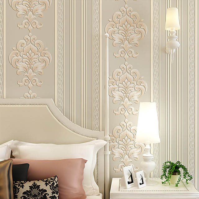 modern europe striped wallpaper luxury 3d damask wall. Black Bedroom Furniture Sets. Home Design Ideas