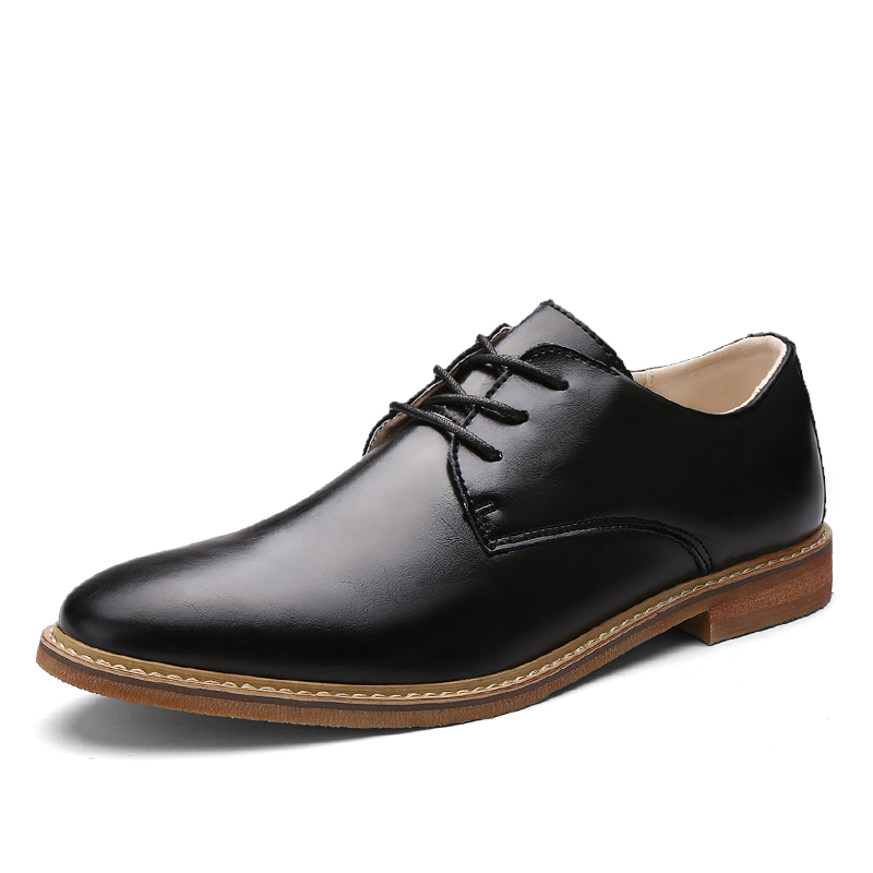 Mens Casual Shoes Luxury Genuine Leather Flats Business Formal Shoes Mens Dress Brogues Oxfords Lace-up Shoes Zapatos Hombre