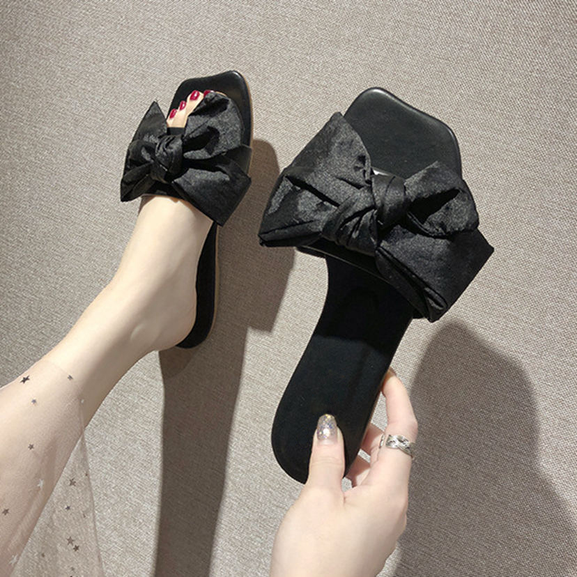 2019 New Women Summer Slippers Bow knot Sandals Outdoor Flip flops Casual Flat Summer Shoes Female Beach Slides in Slippers from Shoes