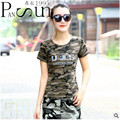 Fashion Street Style 2016 Camouflage Letter Flag Print Tops Women Hot T-shirt Army Green Summer High-Quality Clothing Plus Size
