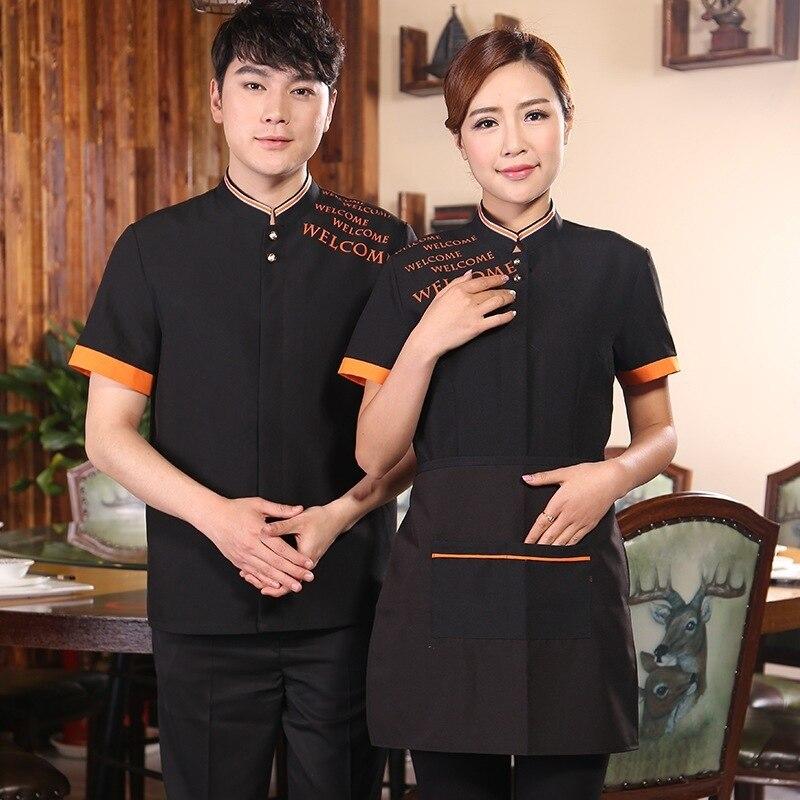 Short  Sleeve Restaurant Waiter Uniform Women Cafe Waitress Uniform  LOGO Coffee Shop Staff Overalls Hotel Food Service Outfit