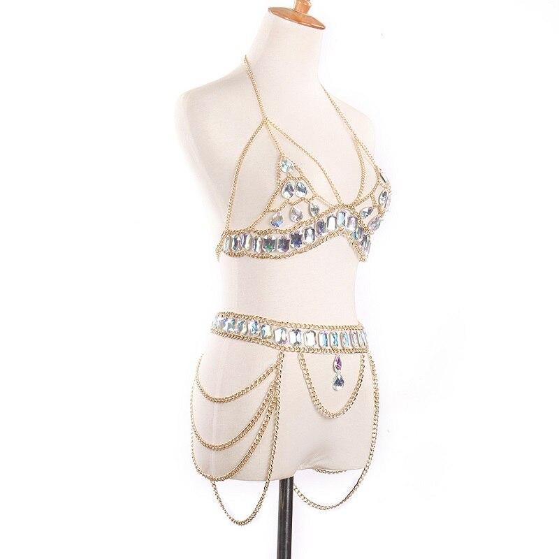 Image 2 - Bikini suit Fashion crystal Sexy Body Necklace Chain Bra Necklace Summer Bohemian luxury bra Women-in Body Jewelry from Jewelry & Accessories