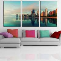 No Frame 3pcs City Of Chicago Printed Oil Painting On Canvas Oil Painting For Home Decor Wall Decor Canvas Printings Abstract
