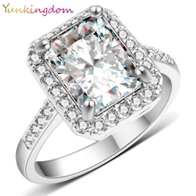 Yunkingdom New Square Design White Gold Color Ring Cubic zirconia Wedding Rings Accessories Brand Jewelry Fine Gifts  X0040