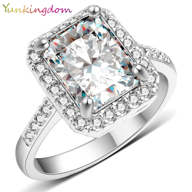 Yunkingdom Новый квадратный дизайн Белый позолоченные заполненный кольцо Кубического циркония обручальные кольца luxury Brand ювелирные изделия Изысканные Подарки X0040