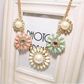 2016 New Hot Crystal Flower Bib Statement Necklace Chunky Bubble Choker Collar Pendant Chain Free shipping