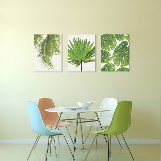 Nordic Minimalist Canvas Print Postergreen Tropical Plants Palm Leaves On Wall Picture Living Room Home No Frame